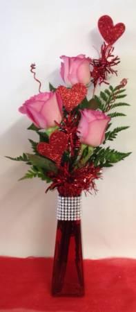 Dazzling Hearts Bud Vase
