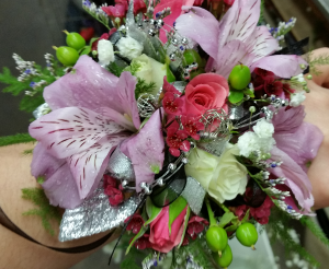 Dazzling Lilac & Pink  Wrist Corsage in Plum, PA | FOREVER GREENE FLOWERS INC.