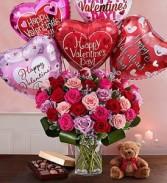 Dazzling Romance Rose w bear chocolate balloons!