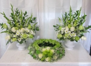 DCOM-3 Wreath with 2 Pedestal Arrangements (variety of colors available) in Naples, FL | DYNASTY FLOWER SHOP