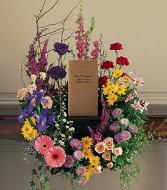 """DCW361 15"""" Cremation Urn Wreath  (seasonal flowers)"""