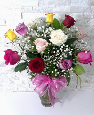 Multi Colored Roses vase of roses in Largo, FL | Rose Garden Florist