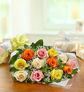 Deal of the Day One Dozen Mixed Colored Roses Wrapped
