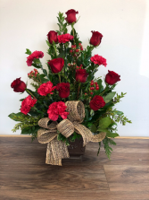 Dearly loved tribute Sympathy arrangement