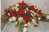December poinsettia spray casket spray