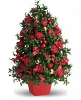 "Deck the Halls Tree 5"" Red tapered cube"