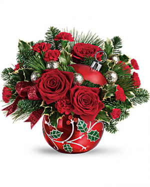 DECK THE HOLLY ORNAMENT ARRANGEMENT  in Elyria, OH | PUFFER'S FLORAL SHOPPE, INC.
