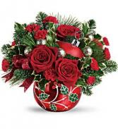 Deck The Holly Ornament Bouquet Christmas Arrangement