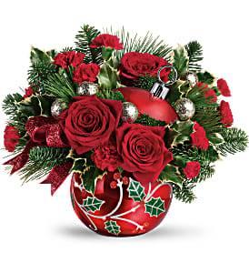Deck The Holly Ornament Bouquet Christmas Arrangement