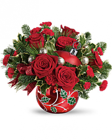 Deck The Holly Ornament Bouquet Christmas Flowers