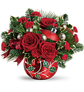 Deck The Holly Ornament Bouquet Fresh Arrangement