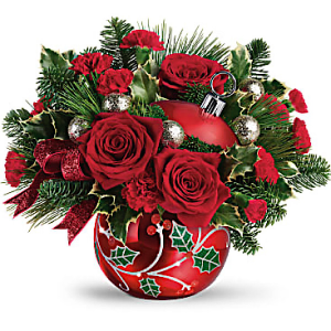 Deck The Holly Ornament  Ceramic  in Chesterfield, MO | ZENGEL FLOWERS AND GIFTS