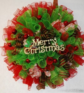 Deco Mesh Christmas Wreath in Forney, TX - Kim\'s Creations Flowers ...