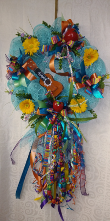 Deco Mesh Wreath. With Guitar And Maracas Hanging Wreath Fiesta