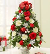 Decorated Boxwood Tree Centerpiece Holiday Arrangement