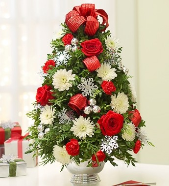 Decorated Boxwood Tree Centerpiece Holiday Arrangement in ...