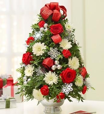 Decorated Boxwood Tree Centerpiece Holiday Arrangement