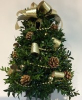 Decorated Boxwood Tree ( Gold Ribbon )