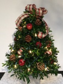 Decorated Boxwood Tree (Red Apple)