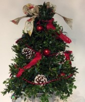Decorated Boxwood Tree ( Red Cardinal)