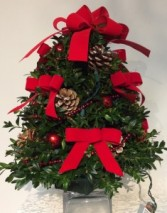 Decorated Boxwood Tree (Red Ribbon)