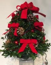 Decorated Boxwood Tree (Red Ribbon)