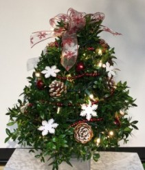Decorated Boxwood Tree (Snowflake)