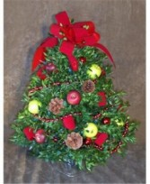 Red & Green Apple Decorated Boxwood Tree
