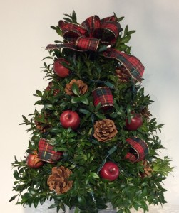 Decorated Boxwood Trees ( Red Apple )