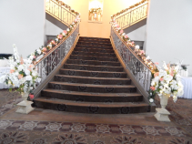 Decorated staircase at the fountains