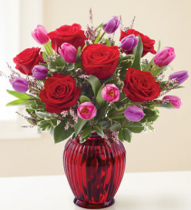 Deep Red Tulips and Roses