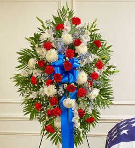 Deepest Red, White & Blue Standing Spray in Camp Pendleton, CA | CAMP PENDLETON FLORIST