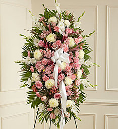 Deepest Sumpathy Standing Spray In Pink and White  in Gainesville, FL | PRANGE'S FLORIST