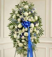Deepest Sympathies Blue & White Standing Spray sympathy flowers
