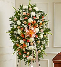 Deepest Sympathy Standing Spray In Orange, Peach and White