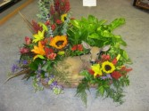 Deer Basket with Plant & Fresh Flowers Fresh Basket
