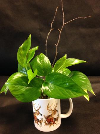 Deer Mug with green plant Keepsake Mug and Plant