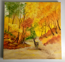 Deer on Strolling on the Path  Acrylic Painting on Canvas