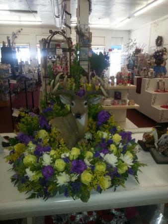 Deer Wreath Table Top Urn Wreath with Deer