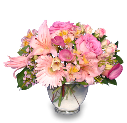 Delicate affection pink floral vase in shreveport la forget me delicate affection pink floral vase mightylinksfo