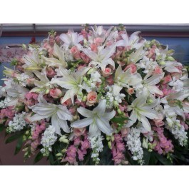 Delicate Pink Casket Spray  in Bronx, NY | Bella's Flower Shop