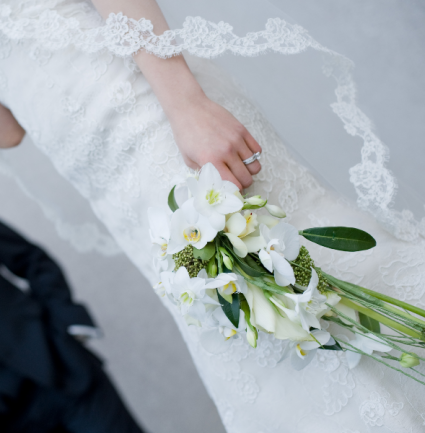 Delicate White  Cascade Bouquet