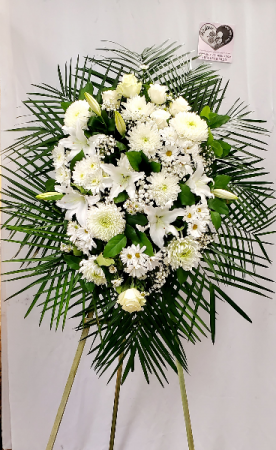 Delicate White Standing Spray Funeral