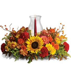 Delightful Fall Centerpiece Fresh candle arrangement  in Elkton, MD | FAIR HILL FLORIST