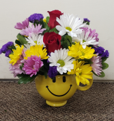 Delightfully Happy Mug fresh keepsake arrangement (Local Only)