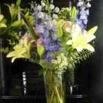 Delphinium and Lily Vase Vase Arrangement