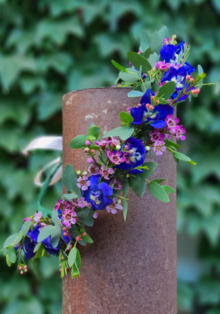 Delphinium and Wax  Flower Crown