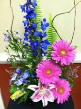 Delphinium & Gerberas Seasonal colors