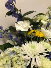 Delphinium  Hydrangea Sympathy Arrangement