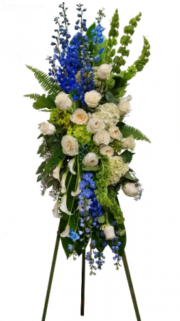 delphinium, roses and calla standing sympathy